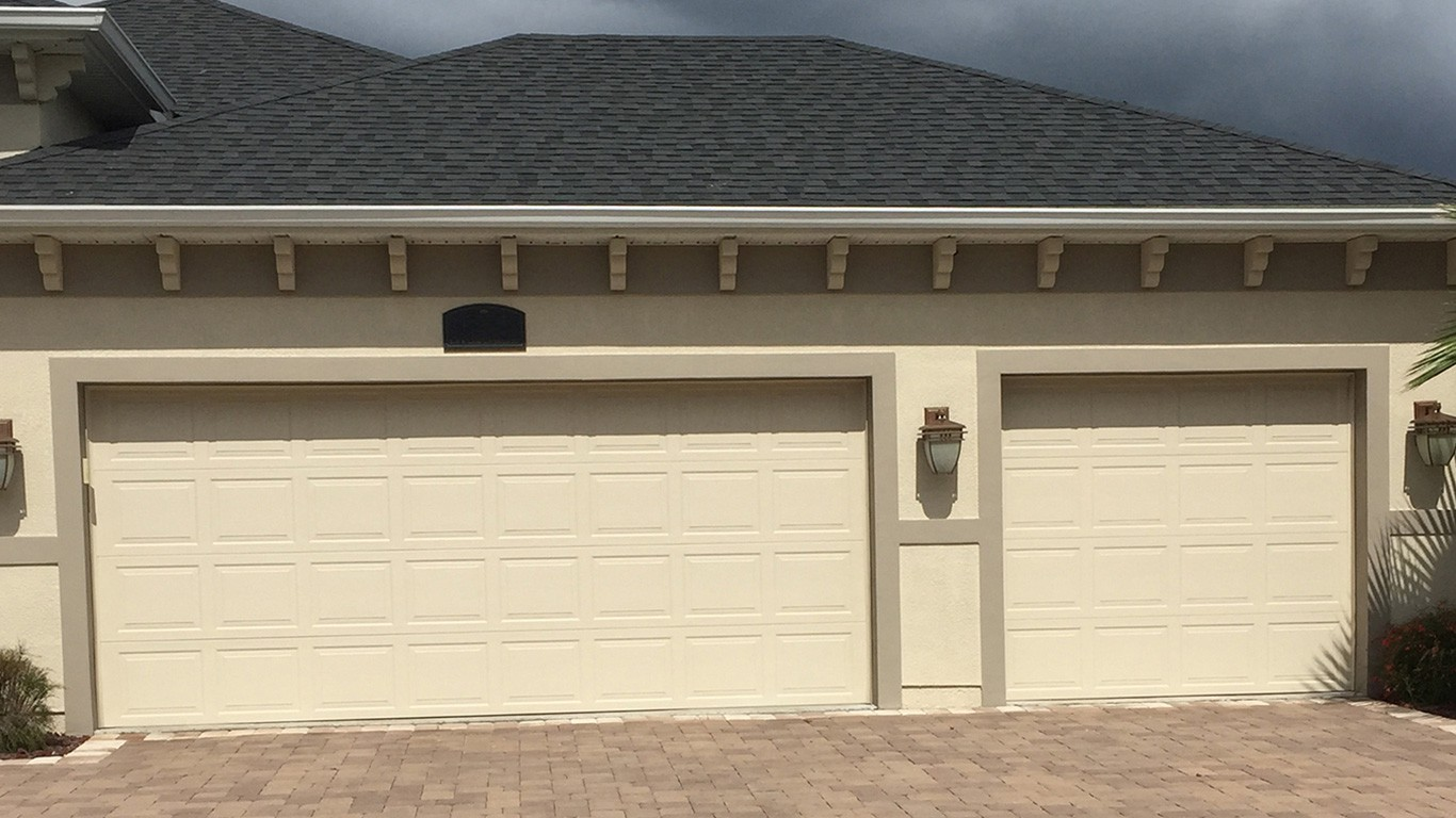 Garage door installation flagler county volusia county for How big is a 2 car garage door